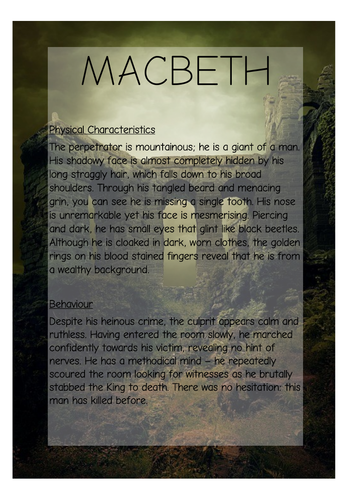 KS2 Character Description Macbeth