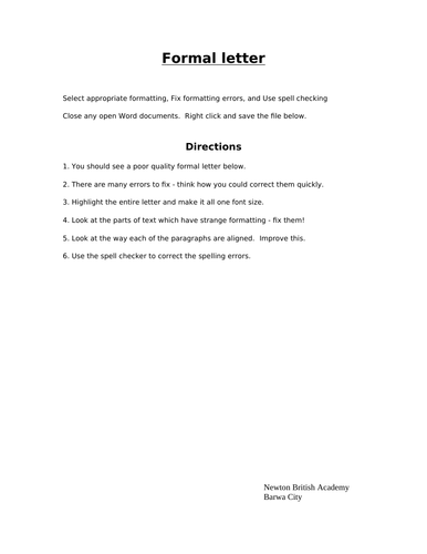 Microsoft word practical activities