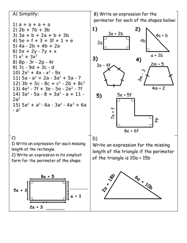 Collecting like terms, multiplying terms, expanding single brackets and double brackets worksheet