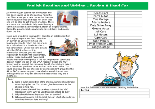 Functional Skills English Reading and Writing EL3-L1 - Buying A Used Car