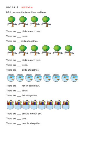 Year 1 Counting in 2s, 5s, 10s differentiated worksheets WHITE ROSE