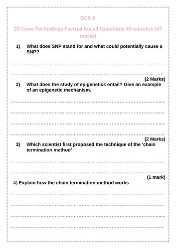 Gene Technology OCR A Revision Questions
