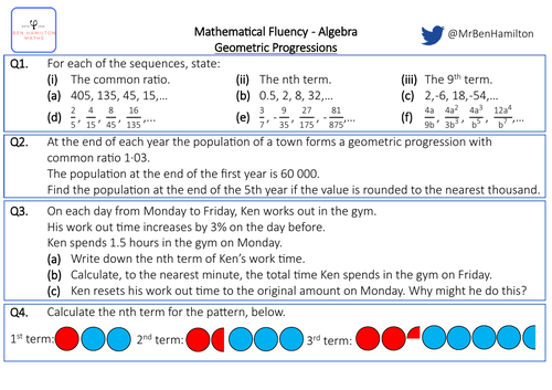 Nth Term of Geometric Sequences - Fluency: Simplifying Algebraic Fractions, Percentages