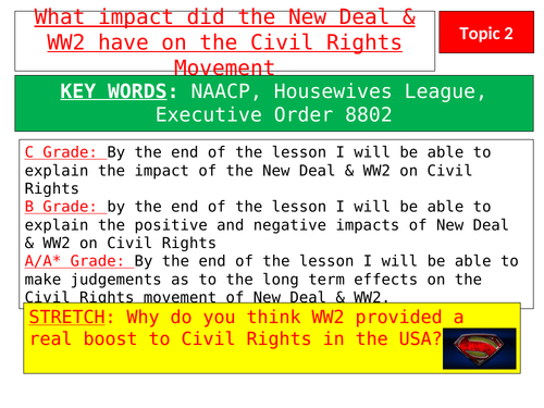 Lesson 3 - Impact of the New Deal & WW2 on black civil rights