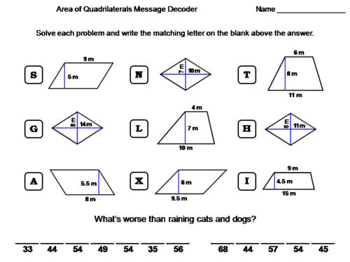 Area of Quadrilaterals: Trapezoid, Parallelogram, Rhombus: Math Message Decoder