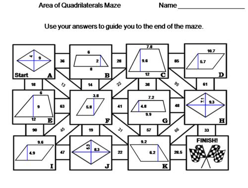 Area of Quadrilaterals Activity: Trapezoid, Parallelogram, Rhombus: Math Maze