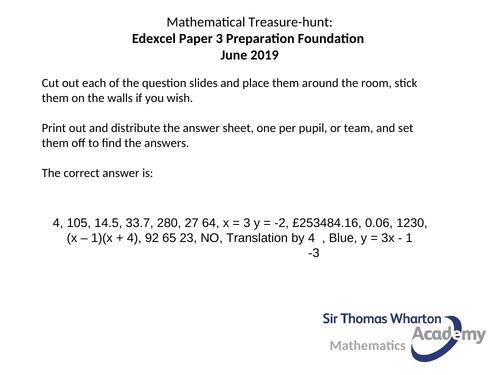 Edexcel Paper 3F Maths Treasure Hunt