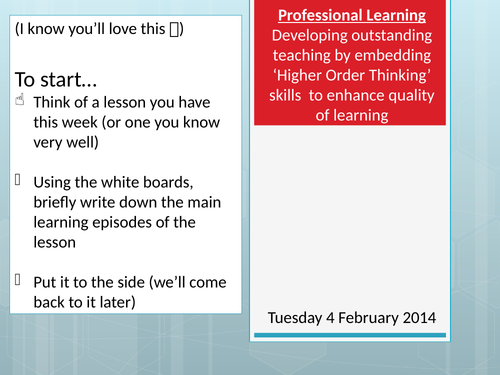 Professional Learning - Blooms Taxonomy