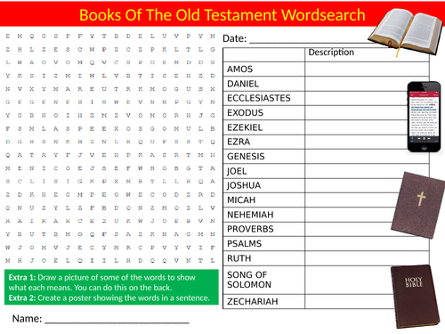Books of the Bible Old Testament Wordsearch Sheet Starter Activity Keywords Cover Homework RS