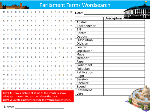 Parliament Terms Wordsearch Sheet Starter Activity Keywords Cover Homework Government Politics