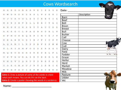 Cows Wordsearch Sheet Starter Activity Keywords Cover Homework Animals Farming Nature