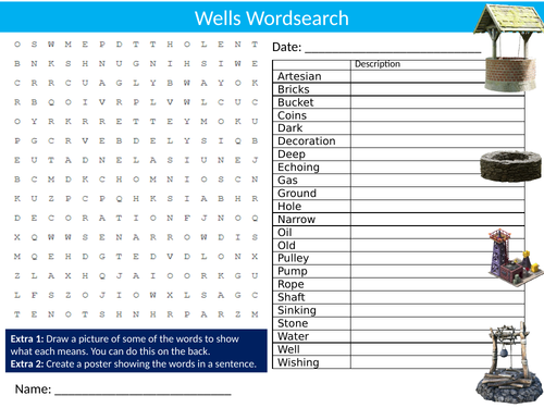 Wells Wordsearch Sheet Starter Activity Keywords Cover Homework Water Geography