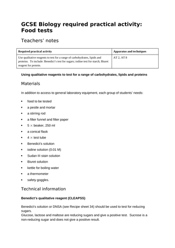 AQA GCSE required practical Food Tests