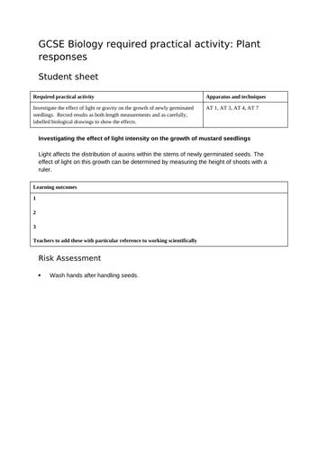 AQA GCSE REQUIRED PRACTICAL PLANT RESPONSES