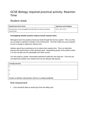 AQA GCSE REQUIRED PRACTICAL REACTION TIME