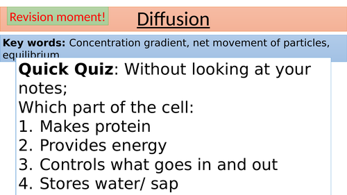 AQA GCSE CELL BIOLOGY TRANSPORT IN CELLS PPTS
