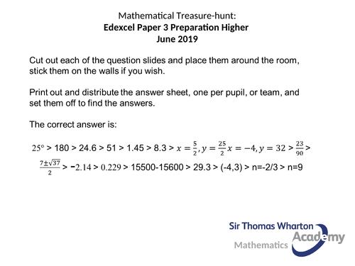 Edexcel Paper 3H Maths Treasure Hunt