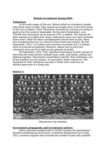 Recruitment during WW1