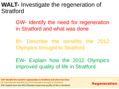 Olympic Regeneration of Stratford KS3