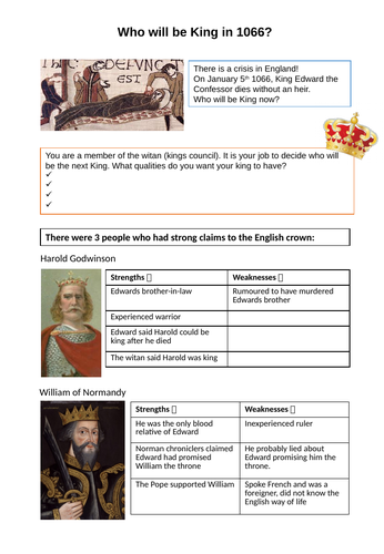 Norman Conquest Worksheet