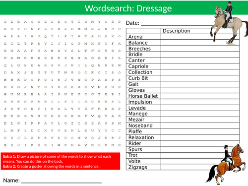 Dressage Wordsearch Sheet Starter Activity Keywords Cover Homework Horses PE Sports Studies