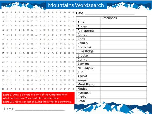 2 x Mountains Wordsearch Sheet Starter Activity Keywords Cover Homework Geography