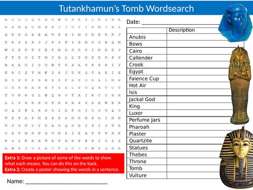 Tutankhamun's Tomb Wordsearch Sheet Starter Activity Keywords Cover Homework History Egypt Egyptians