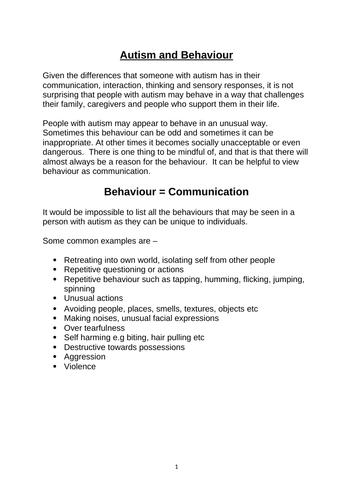 Autism and Behaviour that Challenges