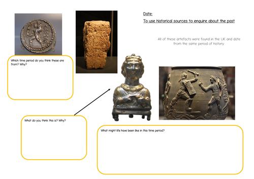 KS2 Roman artefacts historical enquiry worksheet