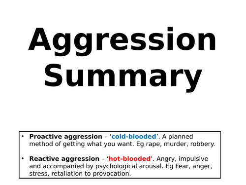 AQA Psychology - Aggression Revision / Summary