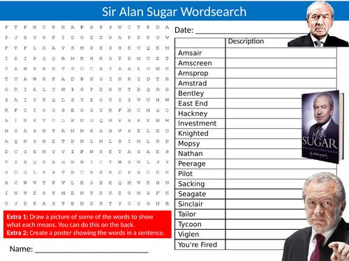 Sir Alan Sugar Wordsearch Sheet Starter Activity Keywords Cover Homework Actor Celebrity Finance