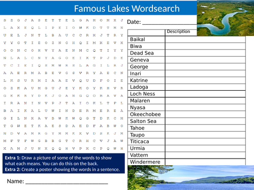 Famous Lakes Wordsearch Sheet Starter Activity Keywords Cover Homework Geography Nature