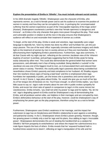 presentation of emilia in othello essay by enkaranis  teaching  presentation of emilia in othello essay by enkaranis  teaching resources