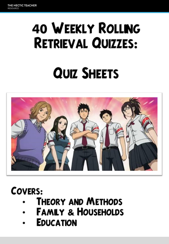 AQA A Level Sociology - 40 weekly Retrieval Quiz Grids with Answers