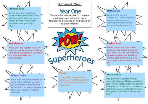 Year 1 Superheroes homework grid