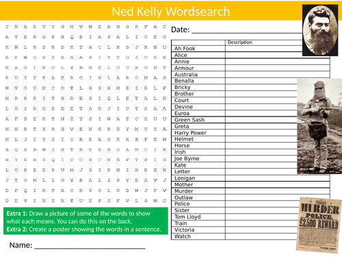 Ned Kelly Wordsearch Sheet Starter Activity Keywords Cover Homework Famous People in History