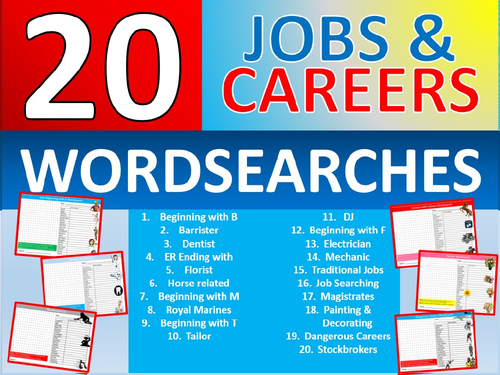 20 X Careers Wordsearch Sheet Starter Activity Keywords Cover