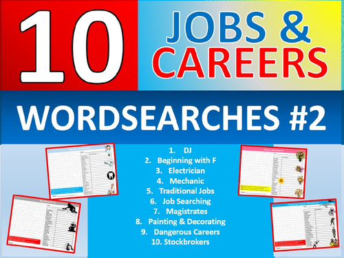 10 x Careers Wordsearch #2 Sheet Starter Activity Keywords Cover Homework Jobs Advice