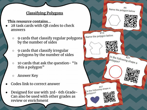 28 Classifying Polygons Task Cards w/QR Codes (by sides & Polygon or Not cards)