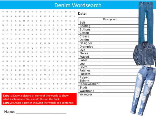 Denim Wordsearch Sheet Starter Activity Keywords Cover Homework Textiles Technology