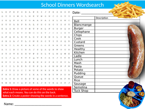 School Dinners Wordsearch Sheet Starter Activity Keywords Cover Homework Food Technology