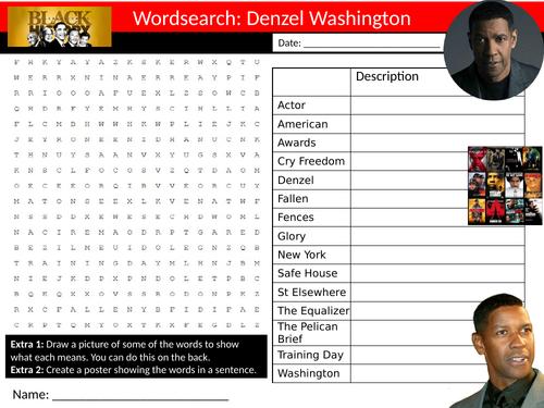 Denzel Washington Wordsearch Sheet Starter Activity Keywords Cover Homework Actor Celebrity Drama