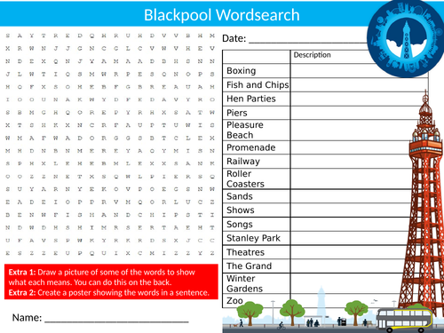 Blackpool Wordsearch Sheet Starter Activity Keywords Cover Homework History Geography