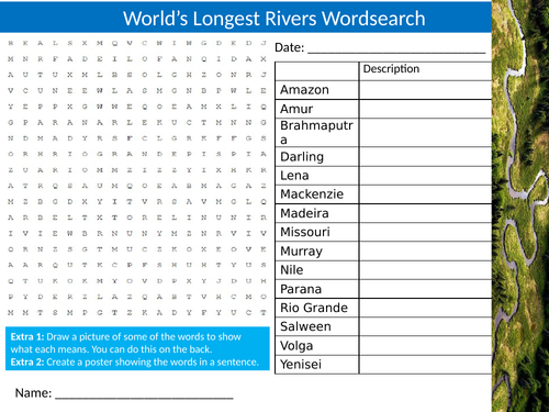 World's Longest Rivers Wordsearch Sheet Starter Activity Keywords Cover Homework Geography