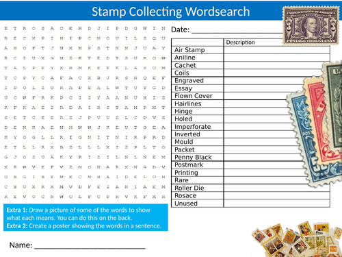 Stamp Collecting Wordsearch Sheet Starter Activity Keywords Cover Homework Hobbies History