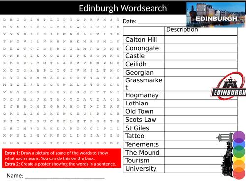 2 x City of Edinburgh Wordsearch Sheet Starter Activity Keywords Cover Homework Geography