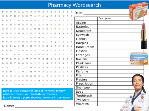 The Pharmacy Wordsearch Sheet Starter Activity Keywords Cover Homework Shopping