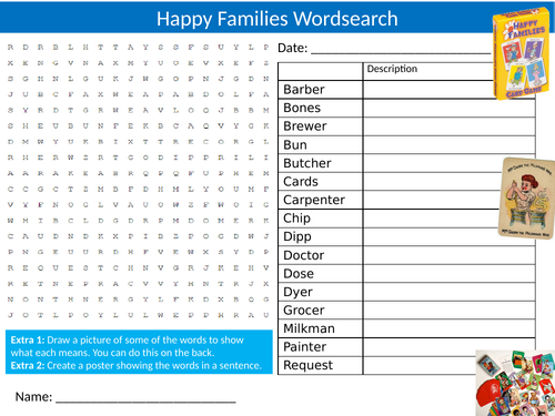 Happy Families Card Game Wordsearch Sheet Starter Activity Keywords Cover Homework