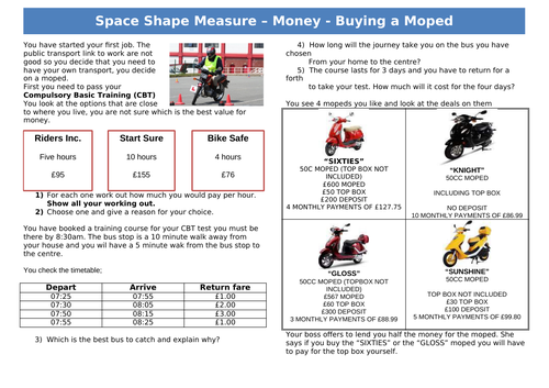 Functional Skills Maths - Money - EL2 to EL3 - Buying a Moped