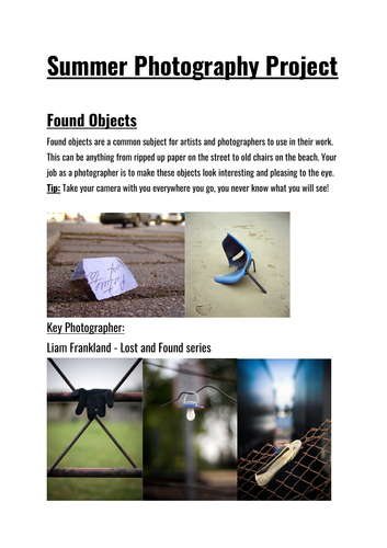 Summer Photography Project - Homework